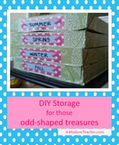 """""""Pizza boxes for weird shaped stuff that you must save from year to year! A Modern Teacher: DIY Storage"""" not a bad idea but would it smell like pizza?"""