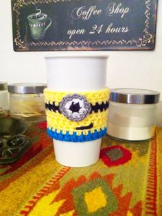 Coffee Cup Cozy Despicable Me Minion  Ready to by ChucksForChancho, $6.50