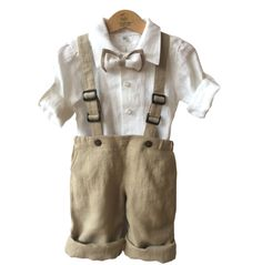 Party Outfits – Boys linen suit, festive outfit, Christening set – a unique product by ecoemi2012 on DaWanda