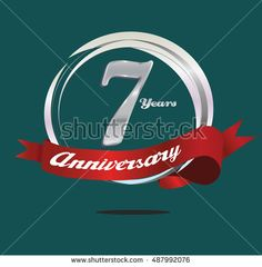 7 years silver anniversary logo with ring composition and red ribbon. anniversary logo for birthday, celebration, wedding and party