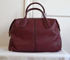 Authentic TOD'S Large Calf Leather D Styling Medium Satchel BAG Burgundy | eBay