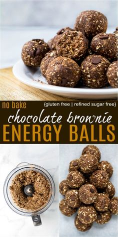 Vegan No Bake Chocolate Brownie Energy Bites No Bake Chocolate Brownie Energy Balls with less than 10 ingredients. These healthy energy bites are vegan, gluten free and make the perfect quick breakfast or high protein snack. High Protein Snacks, Energy Snacks, Protein Energy Bites, Protein Bars, Date Protein Balls, No Bake Energy Bites, Healthy Eating Recipes, Clean Eating Snacks, Healthy Snacks