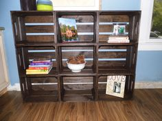 Contemporary Wooden Crate Bookshelf, Medium Size