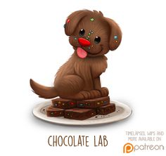 Daily Paint 1510. Chocolate Lab by Cryptid-Creations.deviantart.com on @DeviantArt