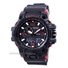 jam tangan digitec dg-2092t hitam merah original