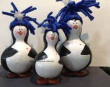 Penguin Gourds Blue hats Hand painted Collectible Penguin Standing penguin family Family of Penguins Black and white penguins  Snowflake