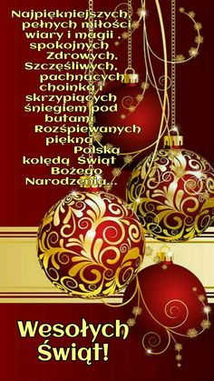 Christmas Wishes, Christmas Time, Christmas Bulbs, Merry Christmas, Polish Language, Xmas Cards, Winter Time, Tis The Season, Holidays And Events