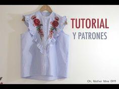 DIY Costura de blusa de mujer con volantes (patrones gratis) - YouTube Sewing Patterns Free, Sewing Tutorials, Free Sewing, Sewing Clothes, Diy Clothes, Skirt Tutorial, Spring Tops, Top Pattern, Designer Dresses