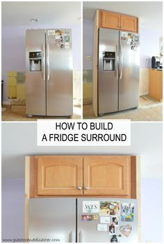 Building a fridge surround -- Plaster & Disaster Built In Cabinets, Diy Cabinets, Kitchen Cabinets, Cupboards, Refrigerator Cabinet, Built In Refrigerator, Retro Refrigerator, Kitchen Redo, Kitchen Design