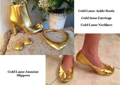 Home made Jasmine items, Gold Lame boot covers, hand made earings and necklance and Gold Lame slippers Jasmine Costume Kids, Princess Jasmine Cosplay, Princess Jasmine Costume, Aladdin Costume, Disney Costumes, Cool Costumes, Halloween Costumes, Genie Costume, Costume Ideas
