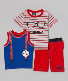 Look what I found on #zulily! Red Stripe Hipster Mustache Tee Set - Infant by Boys Rock #zulilyfinds