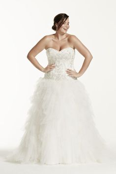 Tulle Plus Size Wedding Dress with Ruffled Skirt - Ivory, 20W