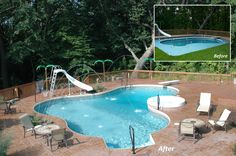 Changing the shape of your pool or adding a paver brick or stamped concrete finish around it is a great way to update your pool.