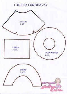 Moldes de Fofucha Conejita Moldes.  En la entrada de mi blog: http://mispecosasdegomaeva.blogspot.com.es/2015/01/fofucha-conejita-moldes.html