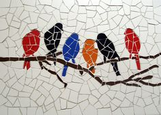Items similar to Birds meeting – Unique handmade tiles mosaic on Etsy – BEĞENDİKLERİM – Ideen Mosaic Tray, Mosaic Wall, Mosaic Glass, Mosaic Tables, Stained Glass, Glass Art, Mosaic Animals, Mosaic Birds, Mosaic Madness