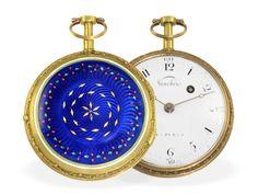 Taschenuhr: prächtige, große Gold/Emaille-Spindeluhr, um 1780, signiert Vauchez a Paris Ca. Ø48mm