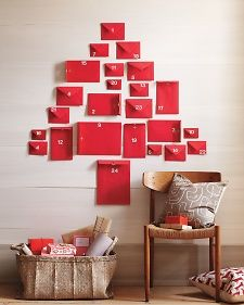 Easy Advent Calendar puts red envelopes on wall in shape of tree. The great thing about this is you can use different sized envelopes as needed. What can you put in an envelope? Christmas Love, Winter Christmas, All Things Christmas, Christmas Ideas, Christmas Tables, Nordic Christmas, Modern Christmas, Christmas Countdown, Homemade Christmas