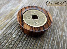 """Zebrawood """"AMUR TIGRIS"""" Kanji Coin PLUGS - 1 New Pair - Choose from sizes 7/16"""" thru 1-5/8"""""""