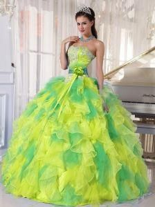 7f972fba01c Appliques and Ruffles Floor-length 15 Quinceanera Dresses for 2014 Spring   cheapquinceaneradresses Pretty Quinceanera