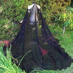 Extra Long Black Elven Cape by FireflyPath on Etsy Black Cape, Long Black, Estilo Lolita, Diy Vetement, Strapless Tops, Wedding Wraps, Cyberpunk Fashion, Maquillage Halloween, Ball Gown Wedding