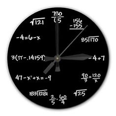 Mathematics Math Chalkboard Clock 8 inch diameter  by RipdNTorn, $30.00