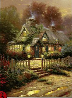 "Thomas Kinkade ""Teacup Cottage"" Boxless Puzzle Floral Flower Lamp Home *NEW*"
