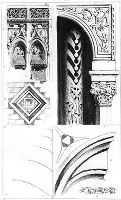 John Ruskin, The Seven Lamps of Architecture, 1855 Plate XII, Fragments from Abbeville, Lucca, Venice and Pisa, p.143