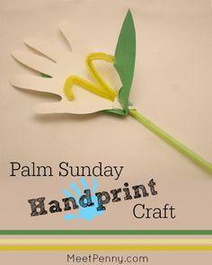 Cute Lily! Palm Sunday handprint craft.