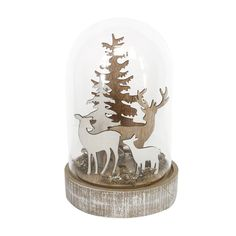 Infuse your home with rustic charm with this Deer in Glass Dome LED ornament from Gisela Graham. Featuring a family of deer amongst trees crafted from wood encased by a glass dome, this charming objec