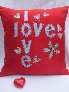 Cushion  red silk Dupion applique £22.50