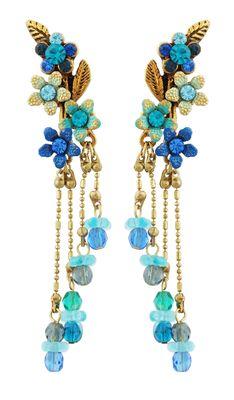 Michal Negrin Jewelry Flowers Crystal Earrings