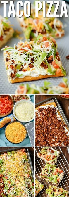 """TACO PIZZA An easy family dinner (you can even make it the night before) or a tasty appetizer. Kids love this recipe and the cream cheese/sour cream """"sauce"""" and spicy taco flavor are a hit with adults too. # easy dinner recipes for 4 TACO PIZZA Taco Pizza Recipes, Mexican Food Recipes, Healthy Recipes, Tofu Recipes, Casserole Recipes, Mexican Meat, Dip Recipes, Pepperoni Recipes, Mexican Pizza"""