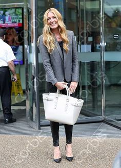 Cat Deely wearing our Marylebone Tote in Ivory Saffiano and Mouse Python