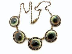 Vintage Operculum Shell Necklace - Cat Eye Shell & Brass Necklace - Eye of Shiva - Victorian Evil Eye Jewelry - 1950s Vintage Jewelry at  VintageArtAndCraft