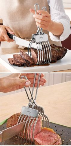 For your Thanksgiving dinner parties! From roasts to breads to hams, these tongs allow the carver to create perfectly even slices every time! Cool Kitchen Gadgets, Kitchen Hacks, Cool Kitchens, Best Cooking Utensils, Cooking Tools, Kitchen Pantry, Kitchen Stuff, Barbecue, Grill Tools