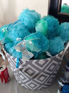 Loofah baby shower favor