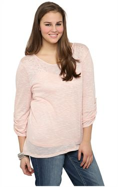 Plus Size Sweater with Pearl and Stone Shoulders and Envelope Back