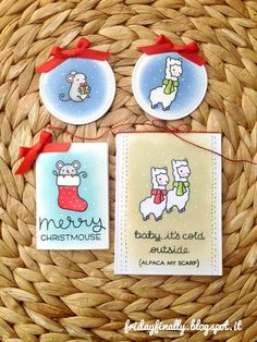 Lawn Fawn - Winter Alpaca, Merry Christmouse Limited Edition _ fabulous one-layer mini cards by Francesca via Flickr