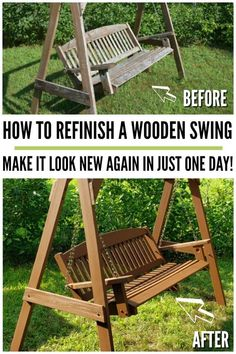 How to refinish a wooden swing in just one day! Tips on how to sand and spray paint or stain your wooden furniture to add years more life! Industrial Light Fixtures, Outdoor Light Fixtures, Industrial Lighting, Outdoor Lighting, Outdoor Decor, Outdoor Furniture, Outdoor Stuff, Pallet Furniture, Lighting Ideas
