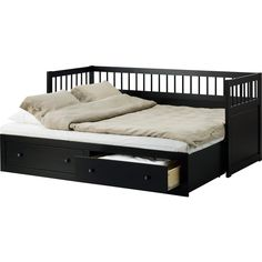 IKEA HEMNES Daybed frame with 2 drawers, black-brown (25.785 RUB) ❤ liked on Polyvore featuring home, furniture, beds, interior, bedrooms, filler, storage daybed, brown furniture, black daybed and black day bed