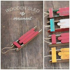 Popsicle sled ornaments