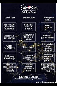 eurovision drinking game voting