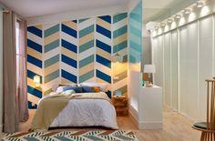 Si buscas provocar un impacto visual, combina formas geométricas y colores en tus paredes #idea