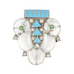Art Deco Platinum, White Gold, Rock Crystal, Turquoise Enamel, Diamond & Turquoise Clip, Cartier  ca 1930.