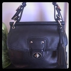 Coach Black Willis bag. EUC Beautiful Black Leather Coach Willis bag. Pre owned in excellent condition. Minor wear on bottom. Some small scuffs on metal turn buckle. Includes detectable cross body strap. Dimensions 10x10x4. Inner lining is all black. trades Coach Bags