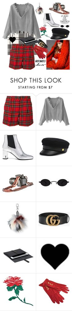 """""""Tartan Shorts"""" by nicolevalents ❤ liked on Polyvore featuring P.A.R.O.S.H., Yves Saint Laurent, Henri Bendel, Aéropostale, Gucci, band.do and Emanuel Ungaro"""