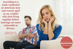 According to a study men and women aged 15-44 who start living together before marriage are more vulnerable to divorce. // #facts #study #divorce