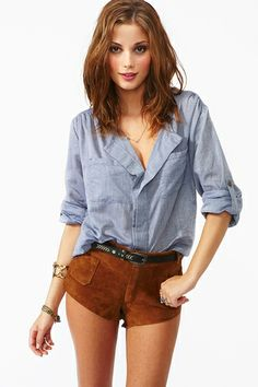 Chambray Pocket Blouse | Nasty Gal | $38