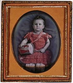 Little Drummer Girl  A Posthumous Mourning Portrait, Sarah A. Lawrence of 119 Hudson Avenue, Green Island, Albany County, New York, Daguerreotype, Tinted, circa 1847