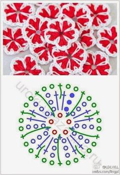 Elizabeth Christianini uploaded this image to 'Croche/FLORES CROCHET'. Crochet Leaves, Knitted Flowers, Crochet Motifs, Crochet Flower Patterns, Crochet Diagram, Crochet Stitches Patterns, Crochet Chart, Crochet Squares, Thread Crochet